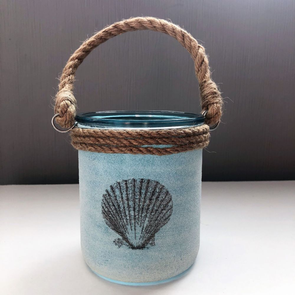 Blue | Turquoise Scallop Seashell Sand Candle Holder Jar